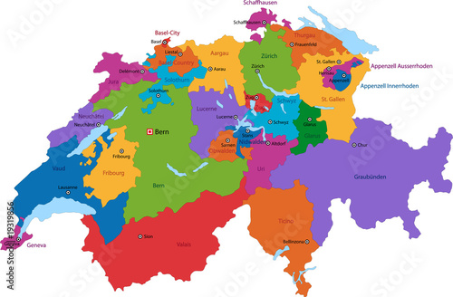 Fotomural Colorful Switzerland map with states and main cities