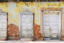 Vintage Eroded Facade In Trinidad, Cuba