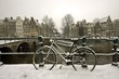 Snowy bike in Amsterdam citycenter the Netherlands