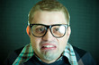 Portrait of the funny nerd guy
