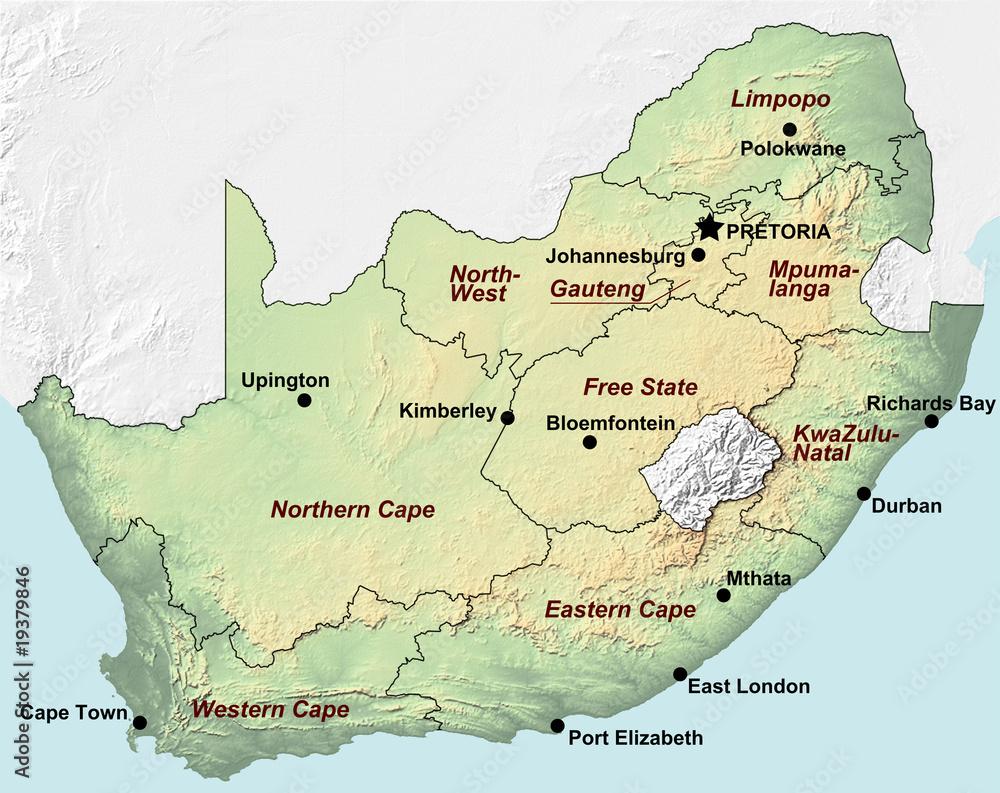 Poster Sudafrika Karte Nikkel Art