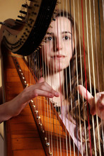 Female Musician Playing The Harp