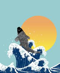 Fototapetajapanses fish jumping in wave