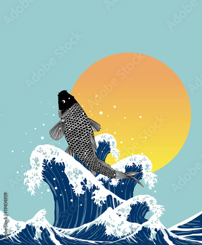 japanses fish jumping in wave - 19404809