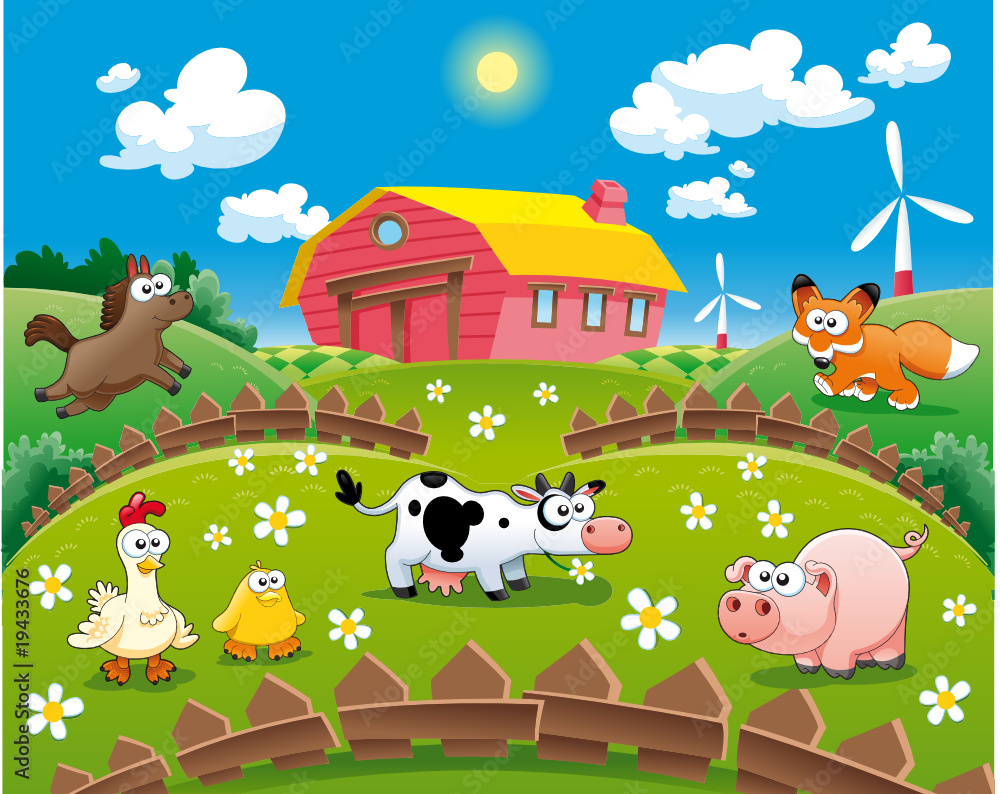 Fototapety, obrazy: Farm illustration. Funny cartoon and vector scene.