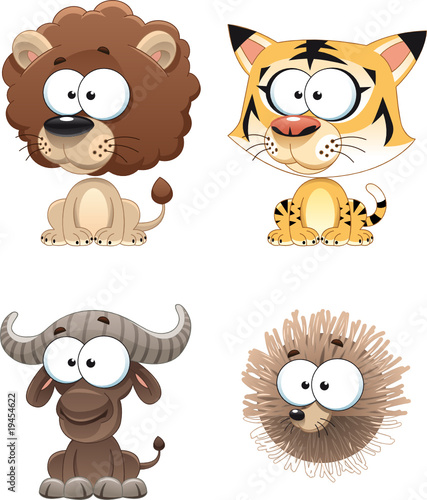 Poster Chambre d enfant Funny Animal of Africa. Cartoon and vector characters.