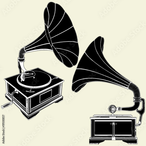 Antique Gramophone Vector 01 Canvas Print