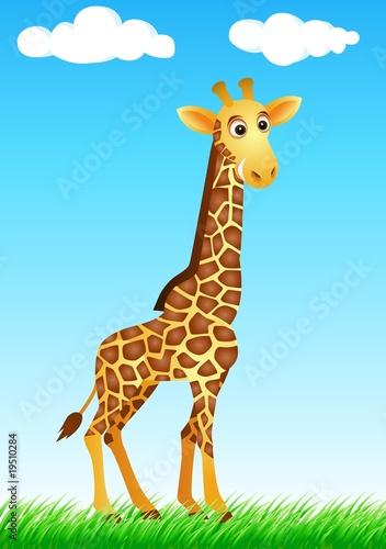 Cute giraffe cartoon in the wild Poster