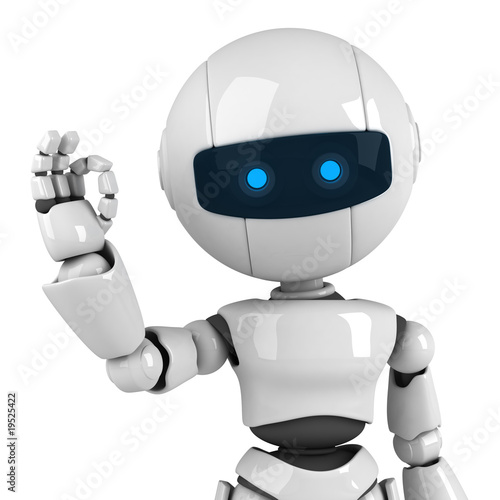 Photo  Funny white robot stay