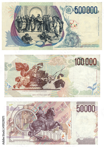 Spoed Foto op Canvas Graffiti collage 50000, 100000, 500000 Lire: Italian currency before Euro (back)