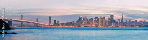 Deurstickers San Francisco High resolution panorama of San Francisco Skyline and Bay Bridge