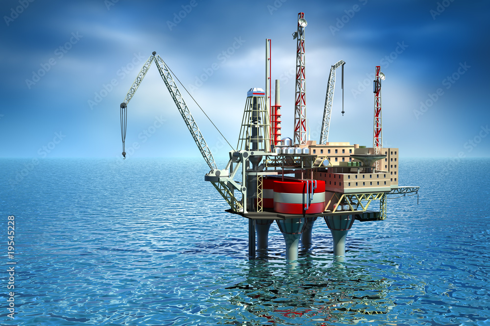 Fototapety, obrazy: Drilling offshore Platform in sea. 3D image
