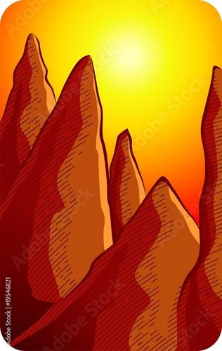 Foto-Stoff - Illustration of mountain and sunset background (von vishnukumar)