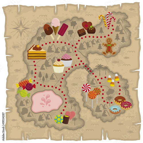 Illustration of kids dreamland map – candies and sweets land map