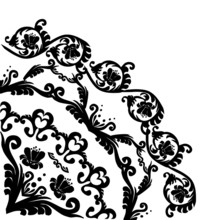 Black Floral Quadrant Decoration