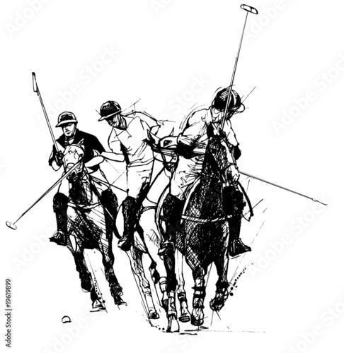 Acrylic Prints Art Studio Vector illustration of polo players (hand drawing)