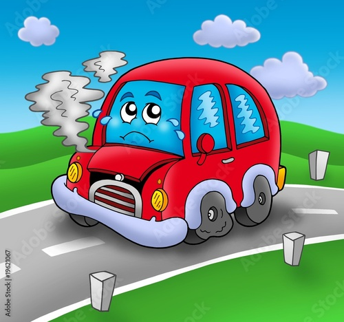 Keuken foto achterwand Cars Broken cartoon car on road