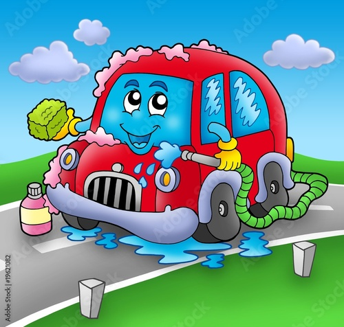 Keuken foto achterwand Cars Cartoon car wash on road