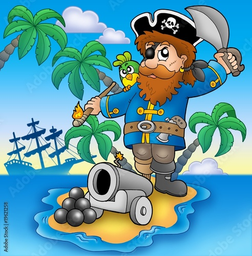 Poster Piraten Pirate shooting from cannon