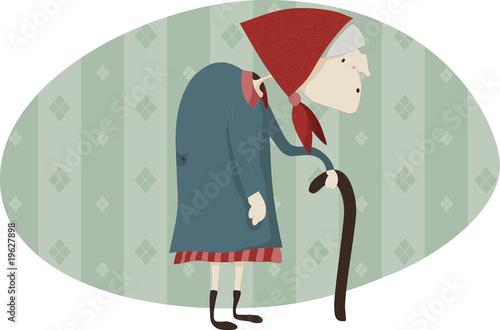 Fotografie, Obraz  Old woman with a walking-stick