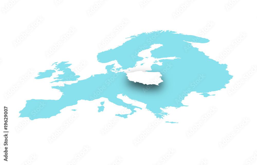 Fototapeta Polska na mapie europy