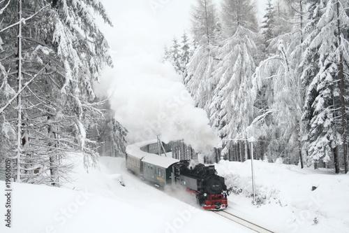 Cuadros en Lienzo Steam train driving through snowy woods