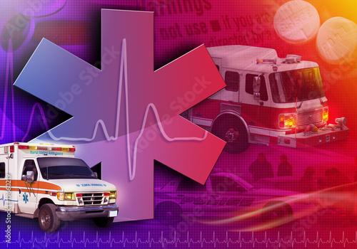 Cuadros en Lienzo  Medical Rescue Ambualnce Abstract Photo