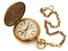 Old Opened Vintage Pocket Clock