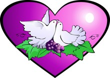 Illustration Of Pigeon With Grapes And Love