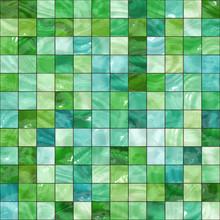 Shiny Seamless Green Tiles Tex...
