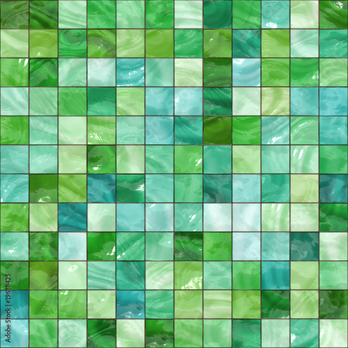 Shiny seamless green tiles texture
