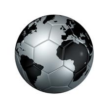 Silver Soccer Football Ball World Globe