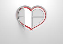 Heart Window Pre-opened Sun Blind (love, Valentine Day Series)
