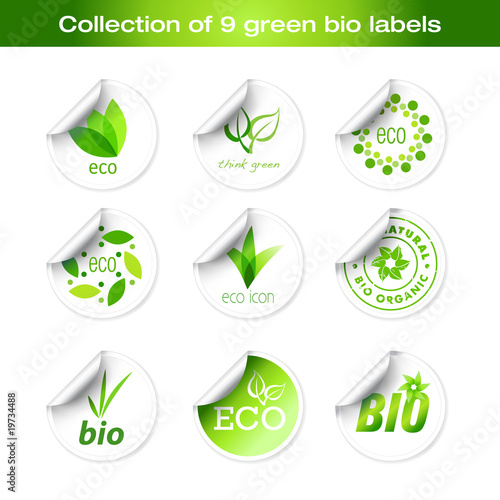 Fotografie, Obraz  Collection of green stickers