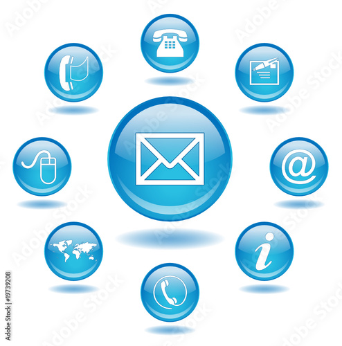 """Poster  Round web """"CONTACT"""" buttons (business customer hotline details)"""