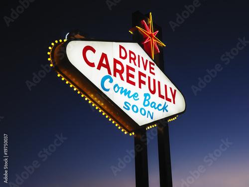 Poster Las Vegas Leaving Las Vegas Sign at Night