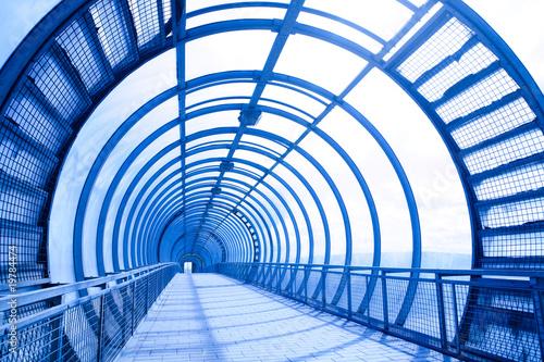 In de dag Brug blue futuristic corridor
