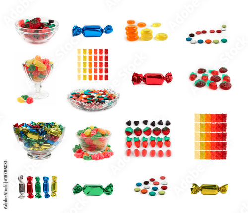 Candys, set of 17 isolated candys.