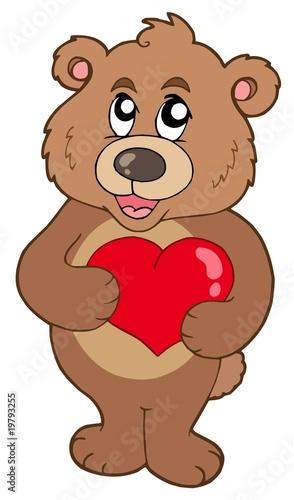 Wall Murals Bears Cute bear holding heart