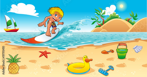 Foto-Stoff - Surfing in the sea. Funny cartoon and vector illustration. (von ddraw)