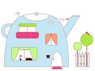Panel Szklany Do pokoju dziecka Teapot-house
