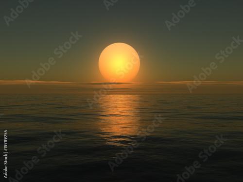 Garden Poster Brown Sunrise on sea