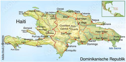Stampa su Tela Haiti. Erdbebenkatastrophe. Landkarte mit Text