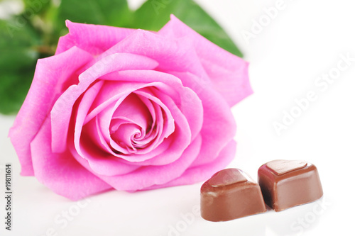 Photo sur Aluminium Macro rose and chocolate