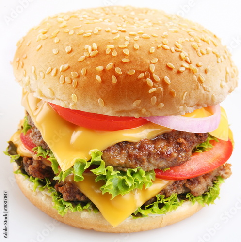Cheeseburger on a white background Poster