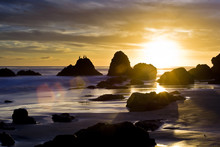 Malibu Beach At Sunset