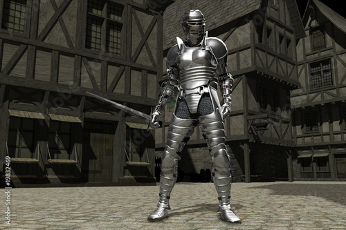 Canvas Print Knight in Medieval City Street