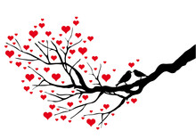 Birds Kissing On A Heart Tree,...
