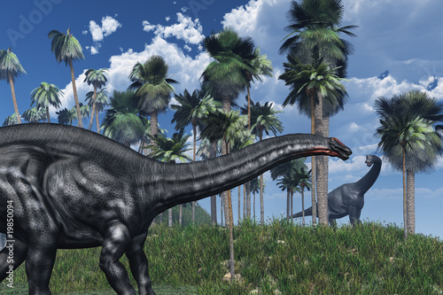 Photo  Prehistoric Scene with Dinosaurs - 3D render