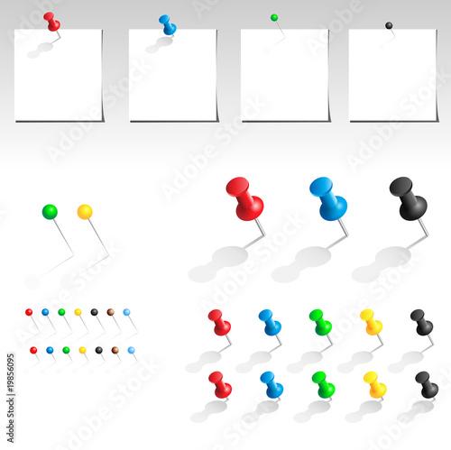 Fotografía  Vector push pin collection